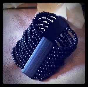 Vintage Unisex Wide Black Wooden Bead Bracelet